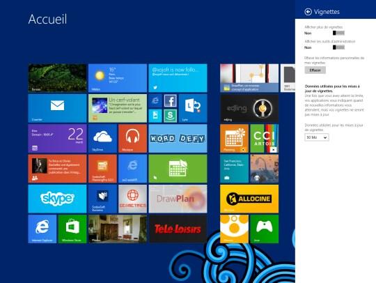 nombre de ligne de tuiles par défaut sur Windows 8